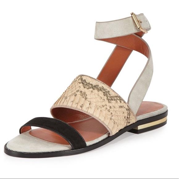 2d35bddcf8584a Rebecca Minkoff Sparta Snake Suede Flat Sandals 7.  M 5b5d43c81b16db5b25621514